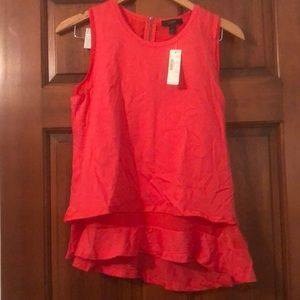JCrew XS coral sleeveless top with ruffle, NWT